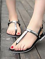 Chaussures Femme-Extérieure / Décontracté-Noir / Argent-Talon Plat-Bout Arrondi / Confort-Sandales-Cuir Verni