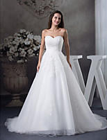 A-line Wedding Dress-Court Train Sweetheart Satin / Tulle