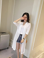Women's Casual/Daily Street chic Trench Coat,Solid Shirt Collar ½ Length Sleeve Summer White / Black Polyester Thin