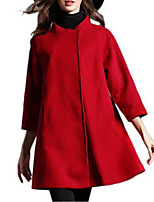 Women's Solid Red / Black Coat,Simple ¾ Sleeve Nylon