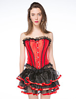 Feminino Conjunto com Corset / Plus Size De amarrar Poliéster Feminino