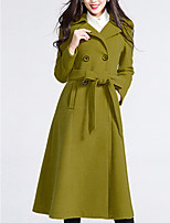 Women's Casual/Daily Simple / Street chic Pea Coats,Solid Long Sleeve Winter Yellow Wool