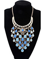 Fashion Long Tassel Colorful Water Drops Shaped Statement Necklace for Women