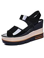 Chaussures Femme-Bureau & Travail / Habillé / Décontracté / Soirée & Evénement-Noir / Blanc-Plateforme-Bout Ouvert / Creepers-Sandales-