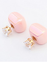 Fashion Mix Style Candy Colors Square Shaped  Pierced Stud Earrings for Cute Women