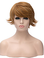 Short Wavy Brown Color Natural Straight Hair Synthetic Wig