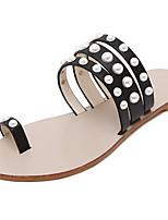 Women's Shoes Leatherette Flat Heel Toe Ring Sandals Dress Black / White