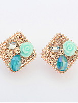 Mix 3 Colors Rhinestone Women Couples Unisex Alloy Gemstone Earrings Square Flower Stud Earrings Korean Fashion
