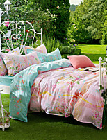 Pink Lovers, Full Cotton Reactive Printing Pastoral Flowers Bedding Set 4PC, FULL Size