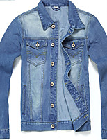 Men's Solid Light Blue/Dark Blue Long Sleeve Denim Jacket Lapel,Cotton Casual