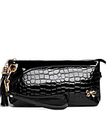 Women PU Baguette Clutch-Black