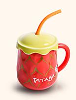 créatif paille style mignon pitaya tasse en céramique tasse