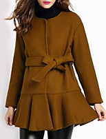 Women's Casual/Daily Street chic Pea Coats,Solid Long Sleeve Winter Black / Brown Polyester