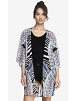 Women's Casual/Daily Simple Cloak/Capes,Print Round Neck ¾ Sleeve Blue Polyester