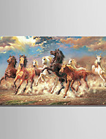 Large Size 8 Running Horse Animal Oil painting on Canvas 3D Print Picture One Panel Whit frame Ready to Hang 75x150cm