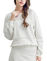 Hoodies Aux femmes Décontracté / Quotidien Simple Couleur Pleine Rouge / Blanc Coton