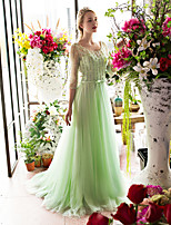 Formal Evening Dress A-line Scoop Sweep / Brush Train Lace / Tulle withBeading / Bow(s) / Crystal Detailing / Lace / Pearl Detailing /