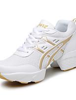 Non Customizable Women's Dance Shoes Leatherette/Fabric Dance Sneakers Split Sole Chunky Heel PerformanceBlack