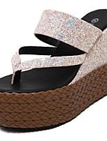 Zapatos de mujer-Tacón Cuña-Cuñas / Punta Abierta-Sandalias-Casual-Purpurina-Negro / Rosa