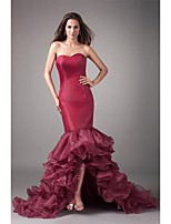 Formal Evening Dress-Burgundy Fit & Flare Sweetheart Asymmetrical Organza