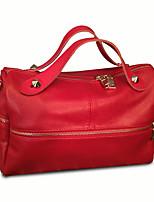 Women PU Weekend Bag Shoulder Bag-Red / Black
