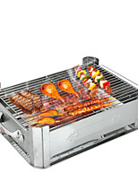 Thick Stainless Steel Grilled Fish Furnace - Medium Prevent Wind Type (With Barbecue Net) 30 × 40cm