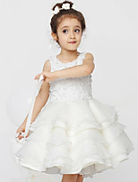 A-line Knee-length Flower Girl Dress-Organza / Stretch Satin Sleeveless