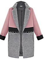 Women's Patchwork Pink Pea Coats,Plus Size Long Sleeve Polyester