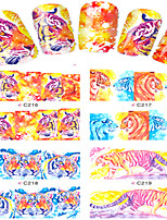 8pcs  Nail Art Water Transfer Stickers Tiger Image Fashion C216-219