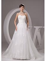A-line Wedding Dress-Court Train Sweetheart Satin / Tulle