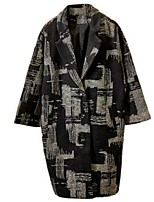Women's Casual/Daily Street chic Coat,Print Long Sleeve Winter Black Polyester