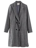 Women's Casual/Daily Street chic Coat,Plaid Long Sleeve Winter Gray Polyester