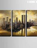E-HOME® Stretched Canvas Art Harbor City Decoration Painting  Set of 3