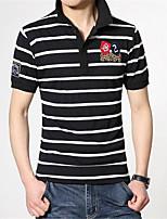 Men's Short Sleeve Polo,Cotton Casual Striped