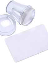 3.8cm Big Round Nail Art Stamper and Scraper with a Lid Set-Clear,not Normal Shape