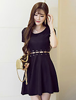 Women's Sexy Solid A Line Dress,Round Neck Mini Polyester