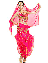 Belly Dance Outfits Women's Performance Chiffon Sequins 4 Pieces Blue / Fuchsia / Light Blue / Purple / Red / Yellow Belly Dance
