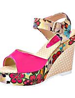 Women's Shoes Leatherette Platform Peep Toe / Platform Sandals Outdoor / Dress Blue / Red / White / Beige