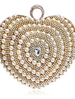 L.west Women Heart-shaped Pearl Diamonds Evening Bag