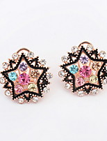 New Style Fashion Alloy Colorful Rhinestone Pentagram Star Shaped Women Acrylic Stud Earrings Fine Jewelry