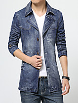 Men's Long Sleeve Jacket,Polyester Casual Solid