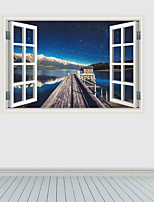 3020 Removable Beach Sea 3D Window Scenery Wall Sticker home Decor Decals Mural Decal Exotic Beach View