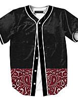 Print-Informeel / Werk / Formeel / Sport-Heren-Polyester-T-shirt-Korte mouw Rood