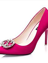 Calçados Femininos-Saltos-Saltos-Salto Grosso-Preto / Verde / Vermelho / Cinza / Coral-Flanelado-Casual