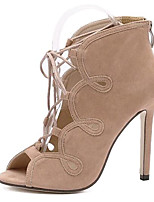 Women's Shoes Fleece Summer Heels Party & Evening Stiletto Heel Lace-up Black / Almond