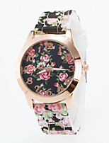 Women's European Style Fashion Gold Flower Print Silicone Wrist Watch Cool Watches Unique Watches