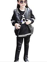 Girl's Black Clothing Set,Dresswear Polyester Winter