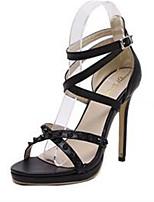 Chaussures Femme-Extérieure / Décontracté-Noir-Talon Aiguille-Talons / Bout Ouvert-Sandales-Cachemire