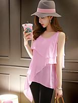 DABUWAWA® Women's Round Neck Sleeveless Shirt & Blouse Pink-D15BST170