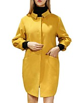 Women's Solid Gray / Yellow Coat,Plus Size ¾ Sleeve Polyester
